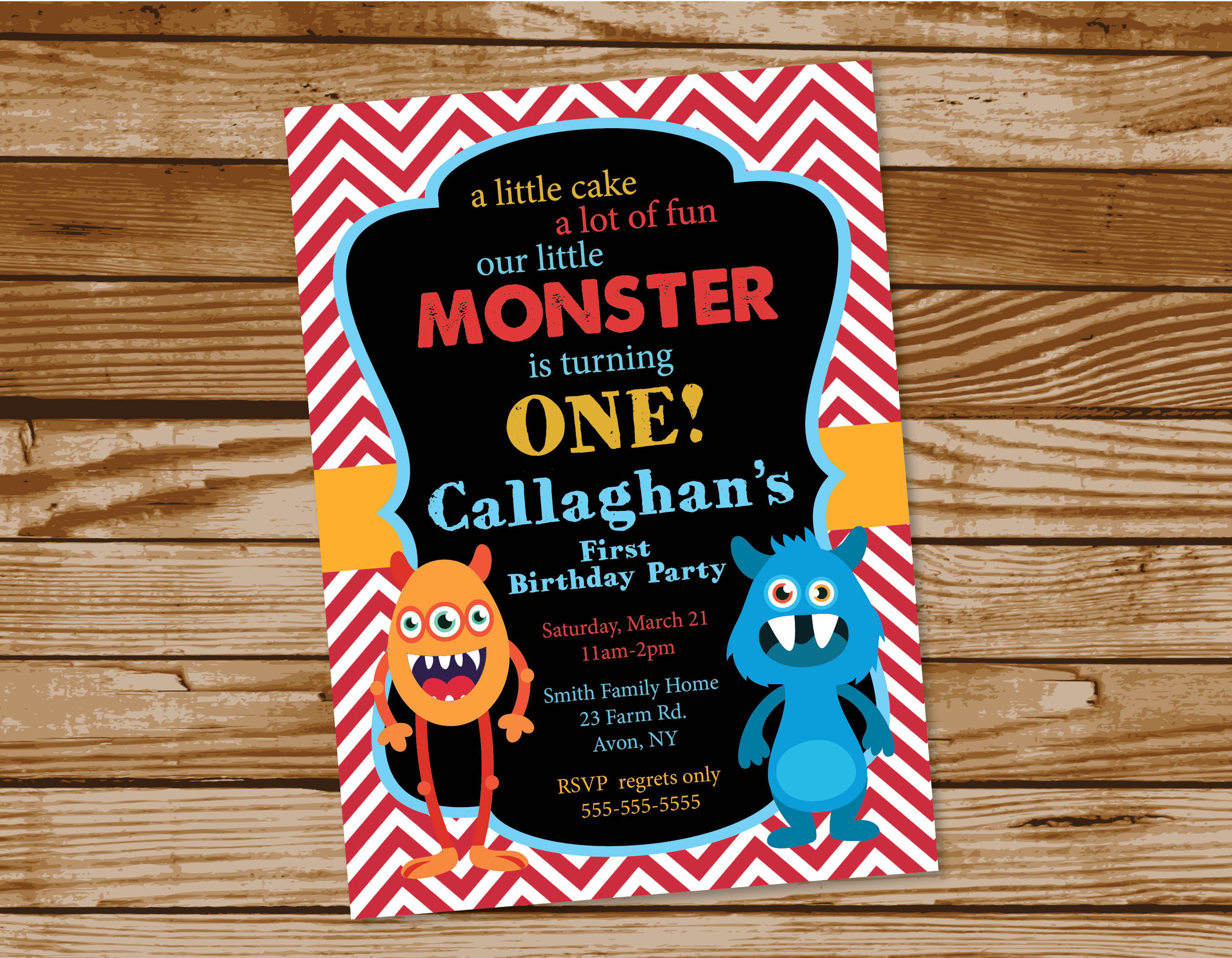 Monster Themed Birthday Party Invitations – PRINTING by Penny Lane