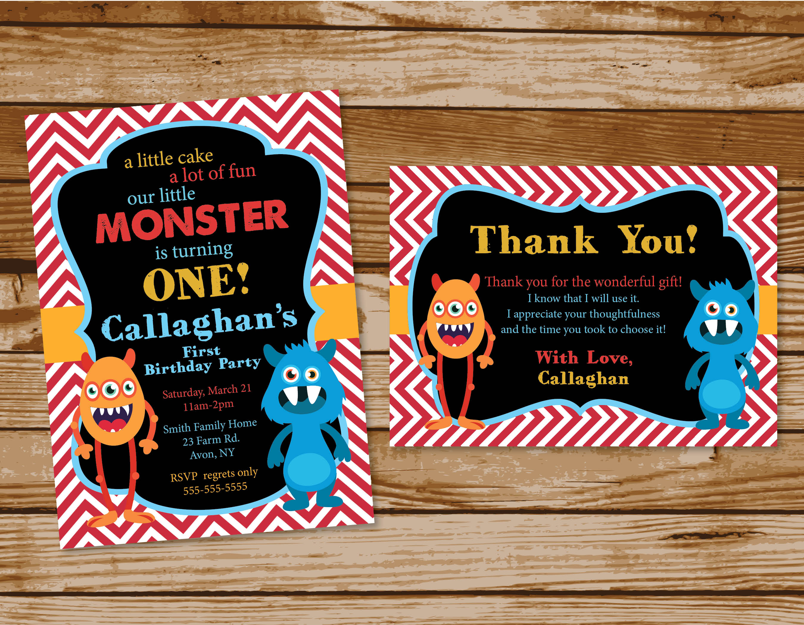 Monster Themed Birthday Party Invitations printing by penny lane – Monster Party Invites