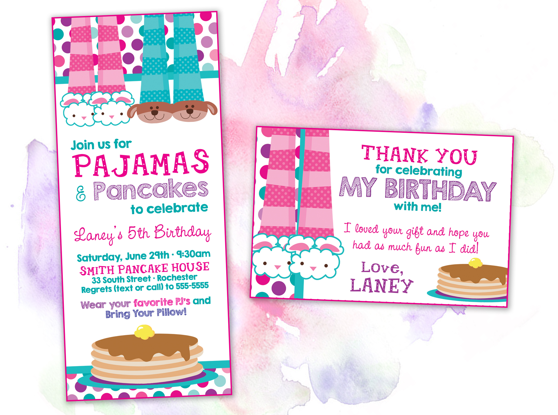 Birthday invitations printing by penny lane pajama pancake party 1 filmwisefo Gallery