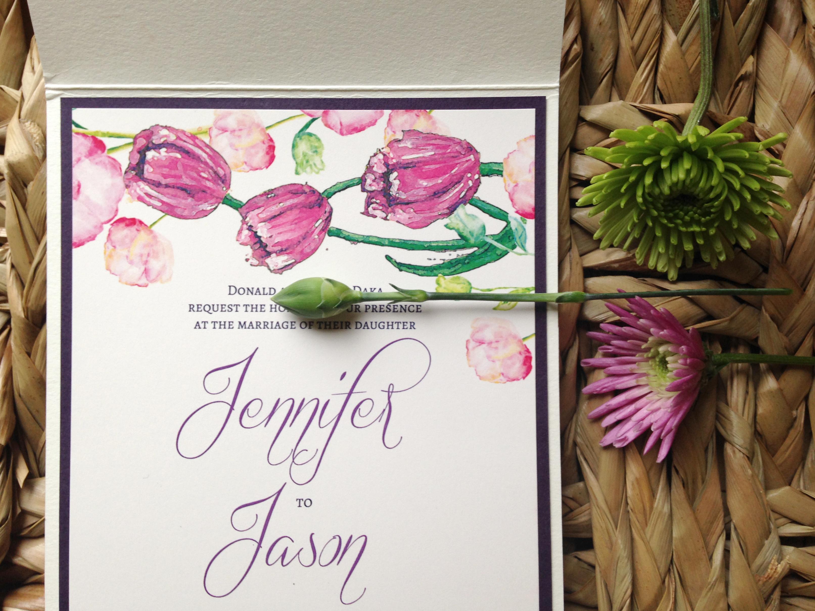 Customized Wedding Invitations: Spring Wedding Invitations With Custom Art
