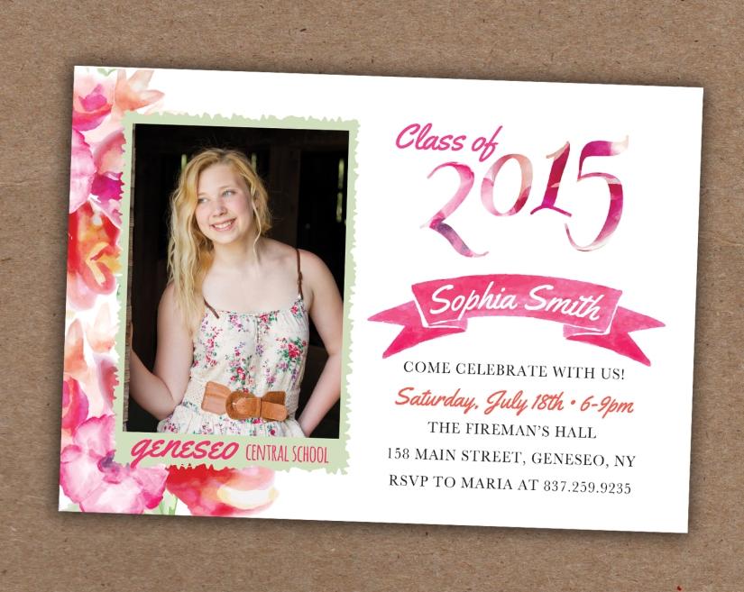 Flower Grad Invite