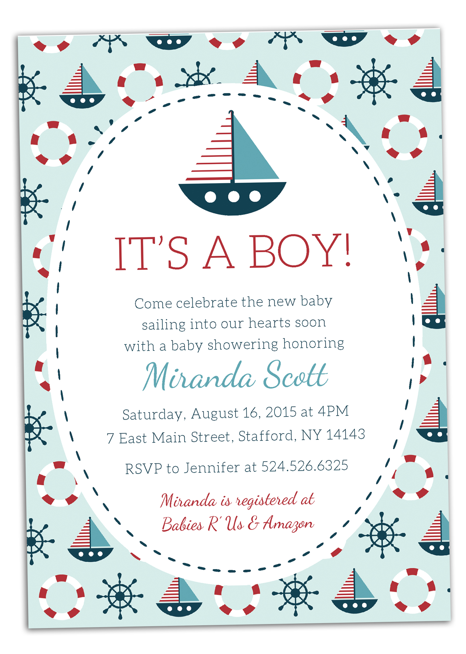 Baby Shower Invitations Nautical Theme Boy