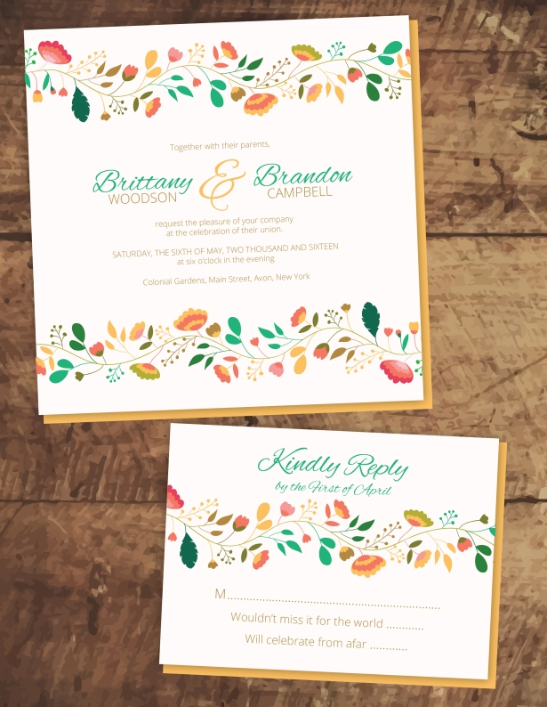 Floral Chain Invites LAYOUT