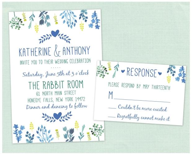 Katherine & Anthony Blue Invitation