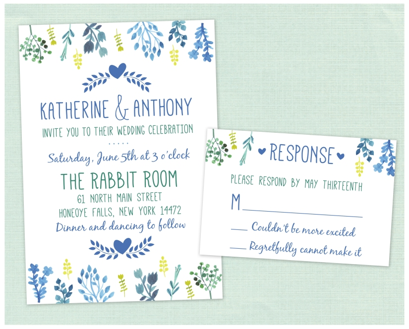 Katherine & Anthony Blue Invitation