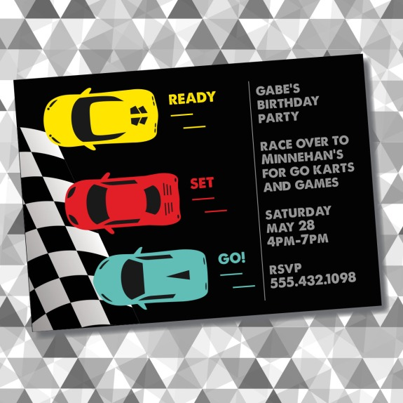 Race Car Birthday Invitation