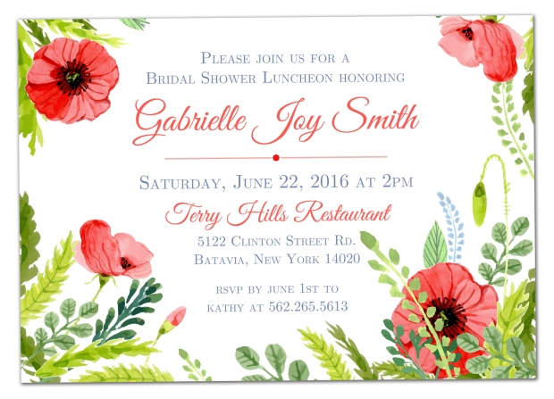 Red Poppy Shower Invitation