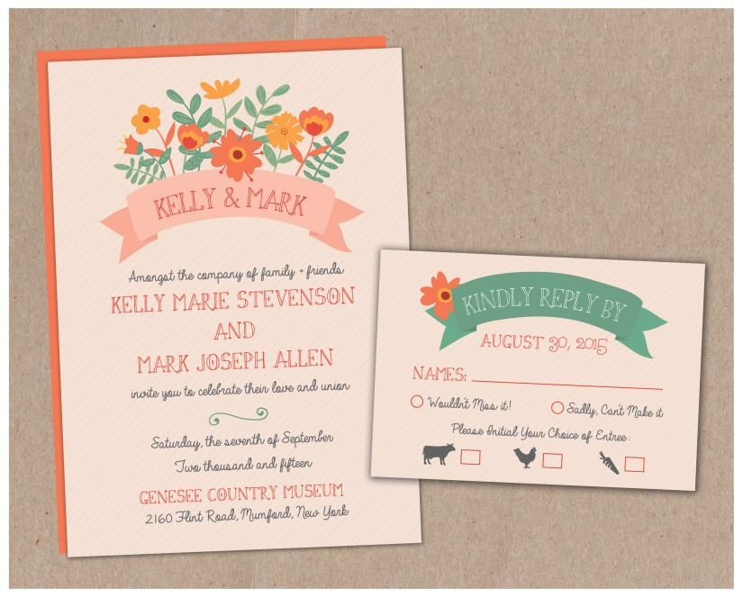 Retro Flower Wedding Invitation