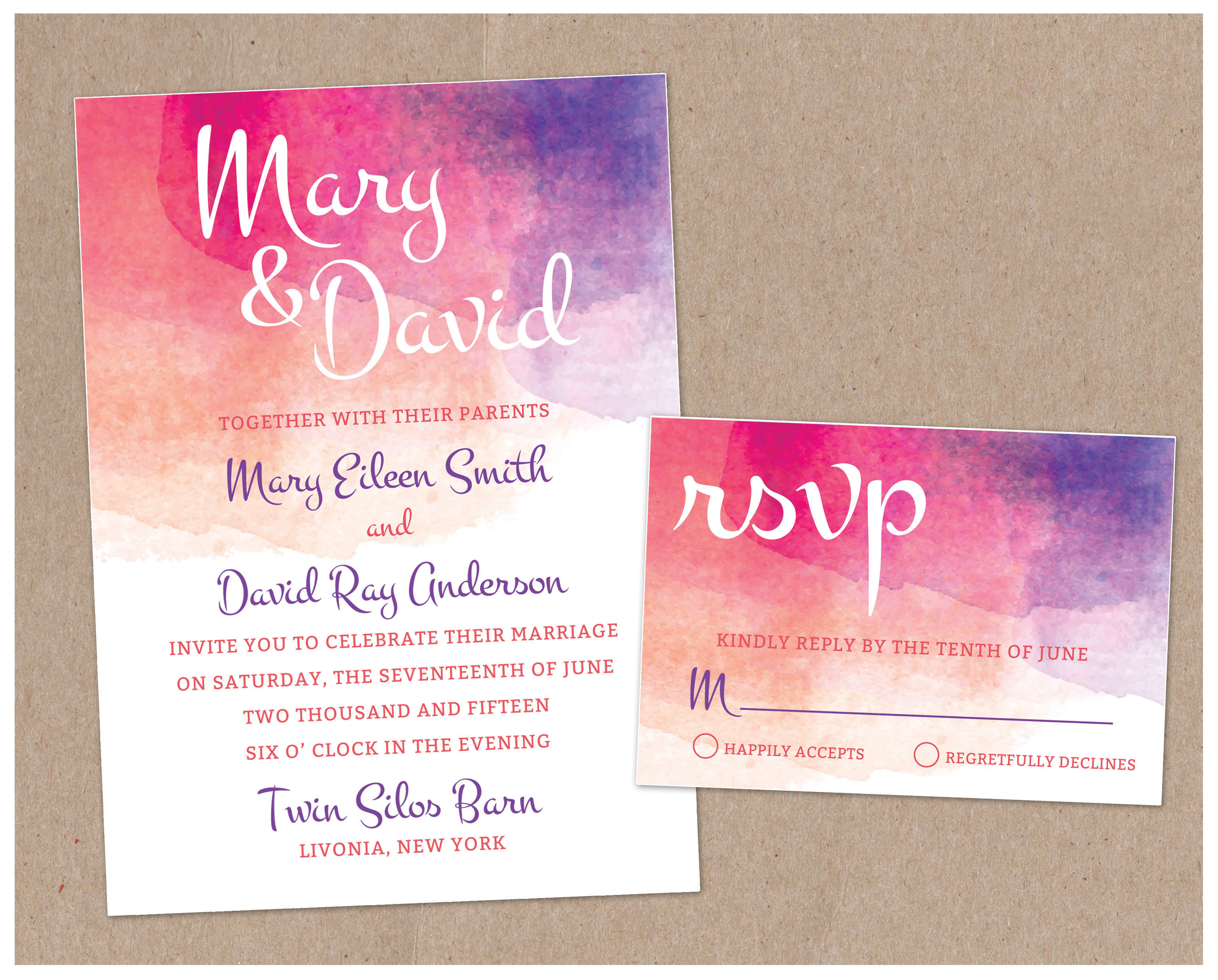 watercolor wedding invite PRINTING by Penny Lane
