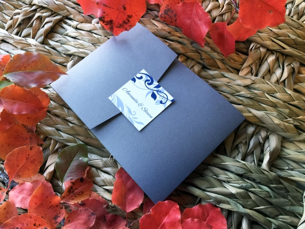 Blue Silver Wed Invitation 1