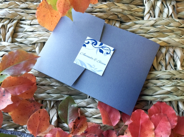 Blue Silver Wed Invitation 2