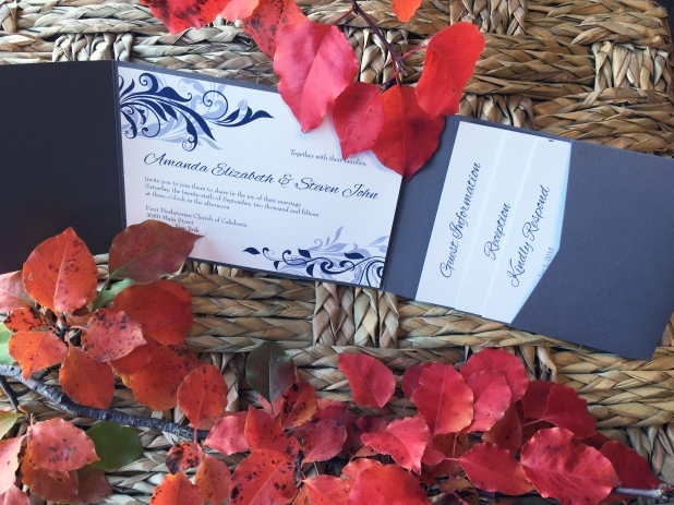 Blue Silver Wed Invitation 5