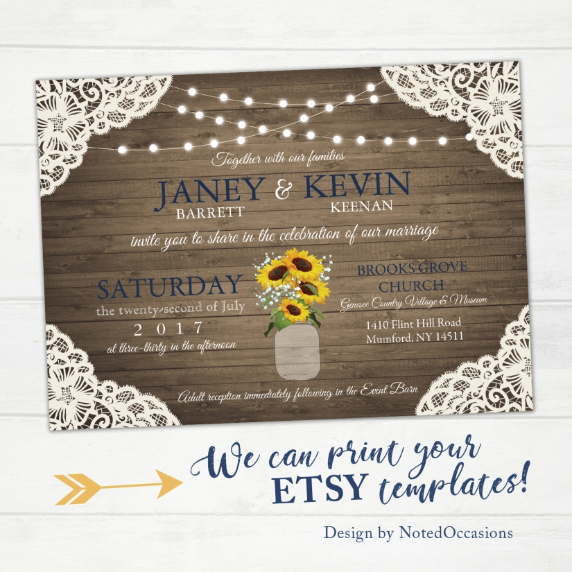 Barn Wood Lace and Sunflower Wedding Invitation, Barnwood and String Light Invitations