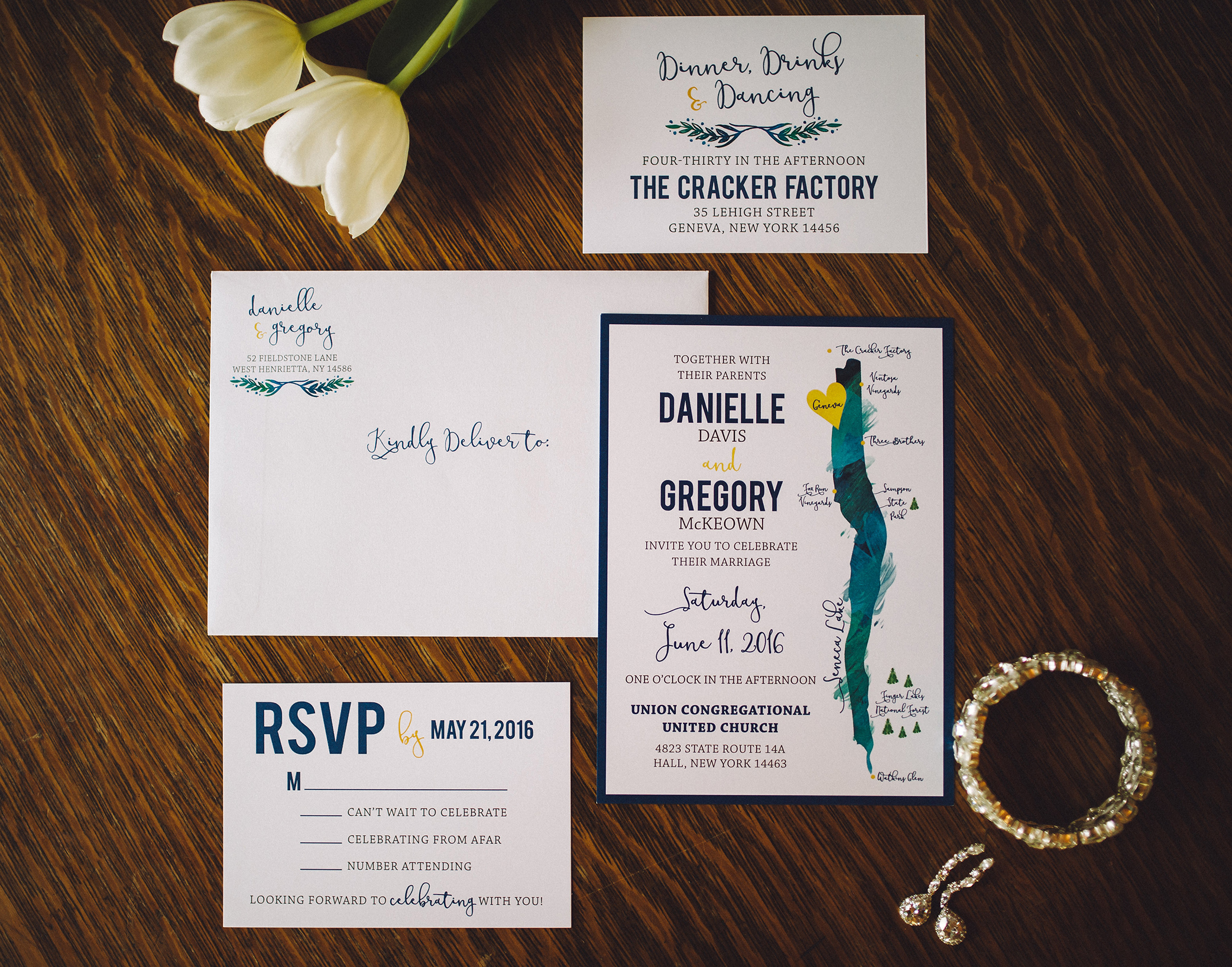 Finger Lakes Themed Wedding Invitations PRINTING by Penny Lane