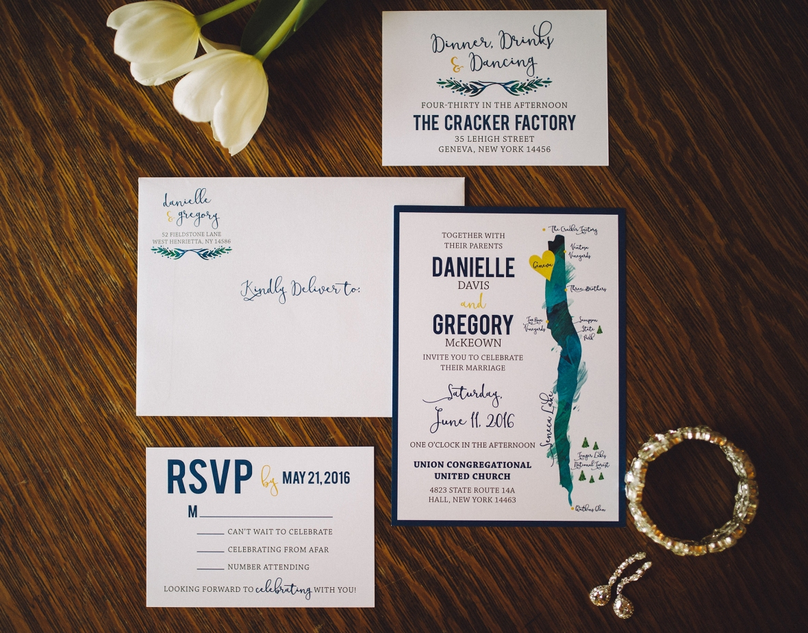 Finger Lakes Wedding Invitation, bluegreen and yellow wedding, yellow and navy wedding