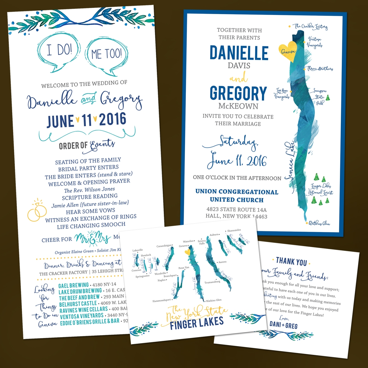 Finger Lakes Wedding Invitations, Lake Wedding, Wedding Program Inspo, Finger Lakes Wedding