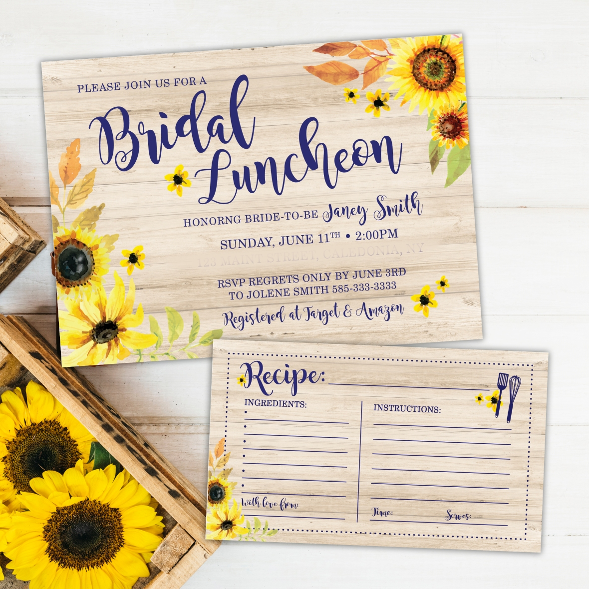 Sunflower Bridal Shower Invitations, Sunflower Recipe Card, Bridal Luncheon Invitations