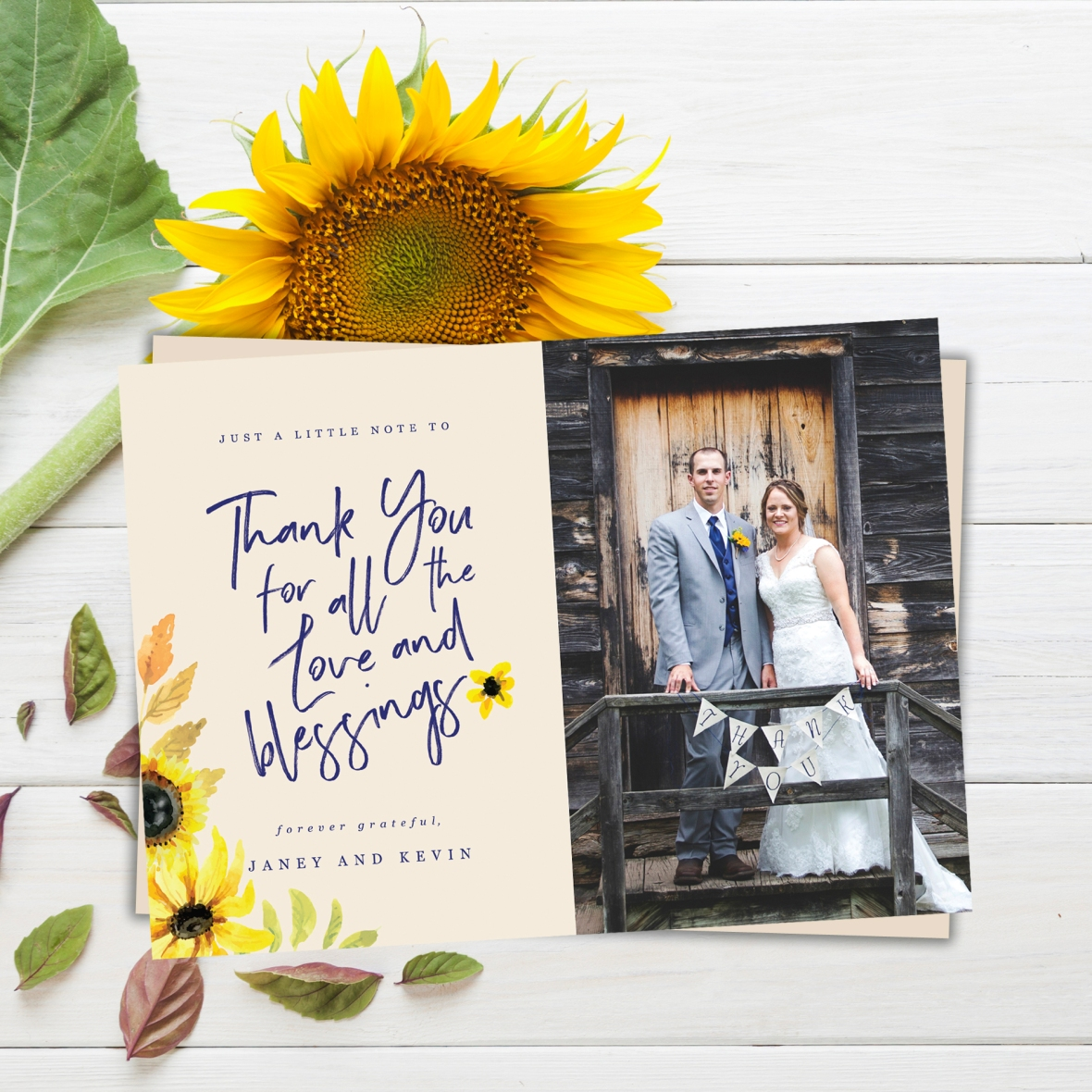 Sunflower Wedding Thank You, Wedding Photo Thank You Card