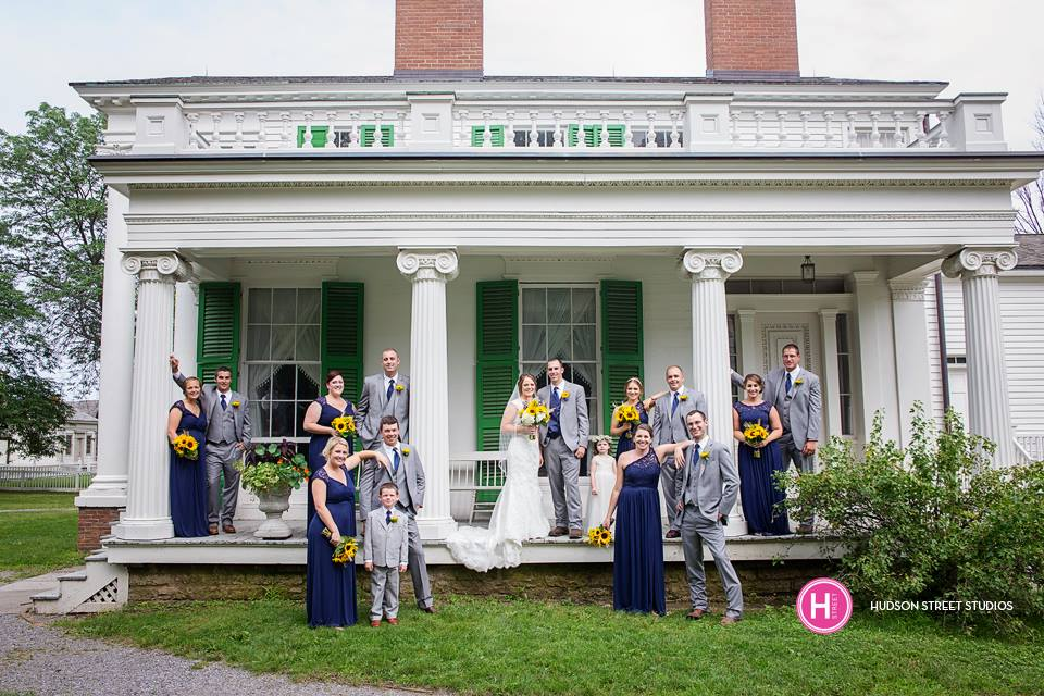Yellow and Navy Wedding, Yellow and Navy Bridesmaid Dresses, Genesee Country Museum Wedding