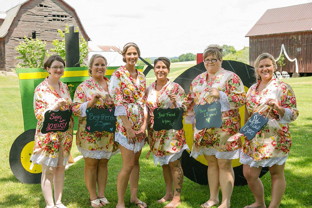 Bridesmaids Matching Robes, Farm Wedding, Bridesmaids with Chalkboard Signs