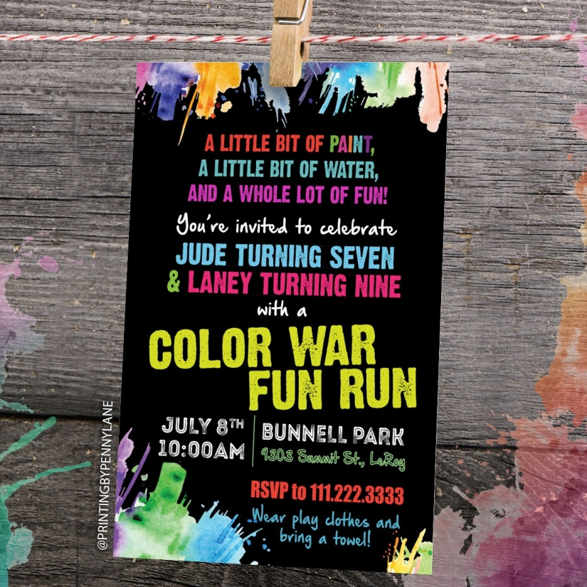 Color War Birthday Party Invitations Printing By Penny Lane