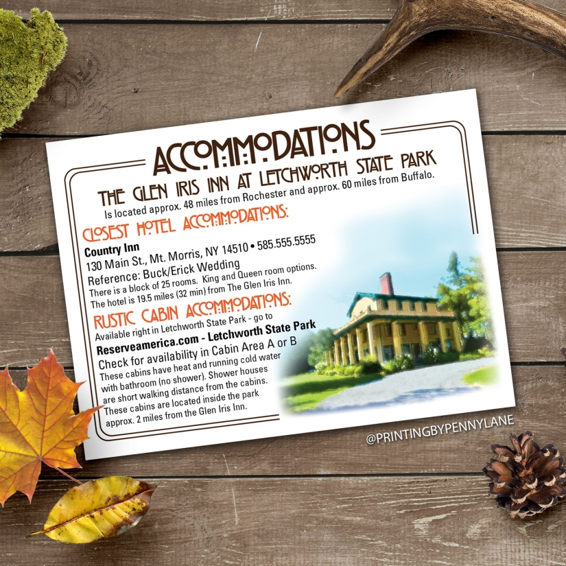 Outdoorsy Accommodation Card Idea