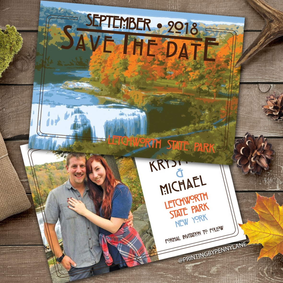 Outdoorsy Letchworth Park Save the Date Autumn