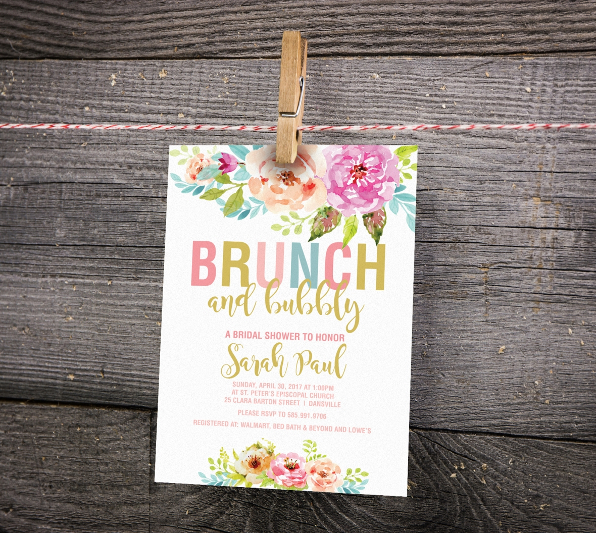 Brunch and Bubbly Shower Invitations, Floral Shower Invitations, Floral WEdding Shower Invitations
