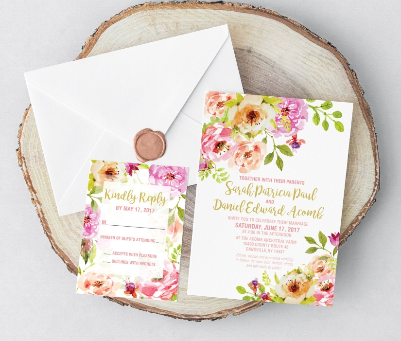 Floral Wedding Invitation Set, Blush and Green Wedding Invitations