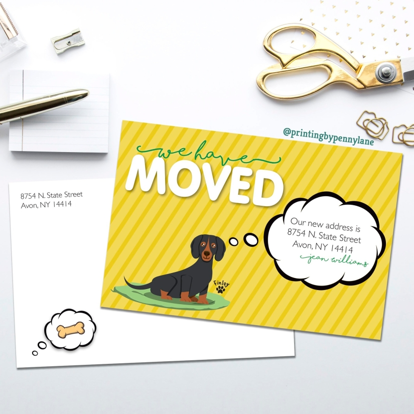 Moving Postcards, Cute We Moved! Cards, Dachshund Cartoon, Wiener Dog Postcards