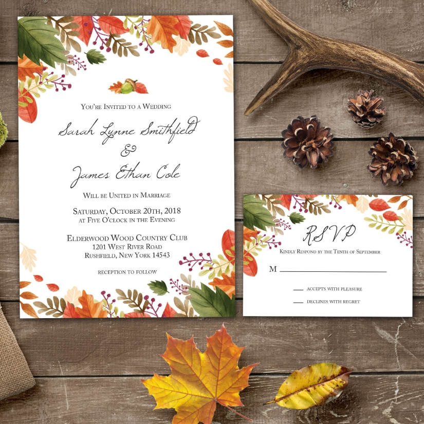 Fall Wedding Invitation and RSVP