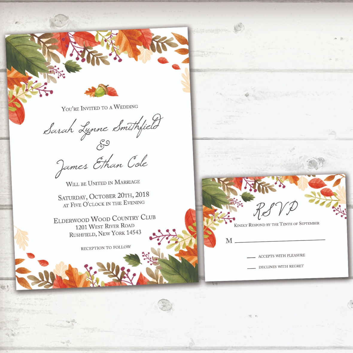 Fall Wedding INV White Barnwood