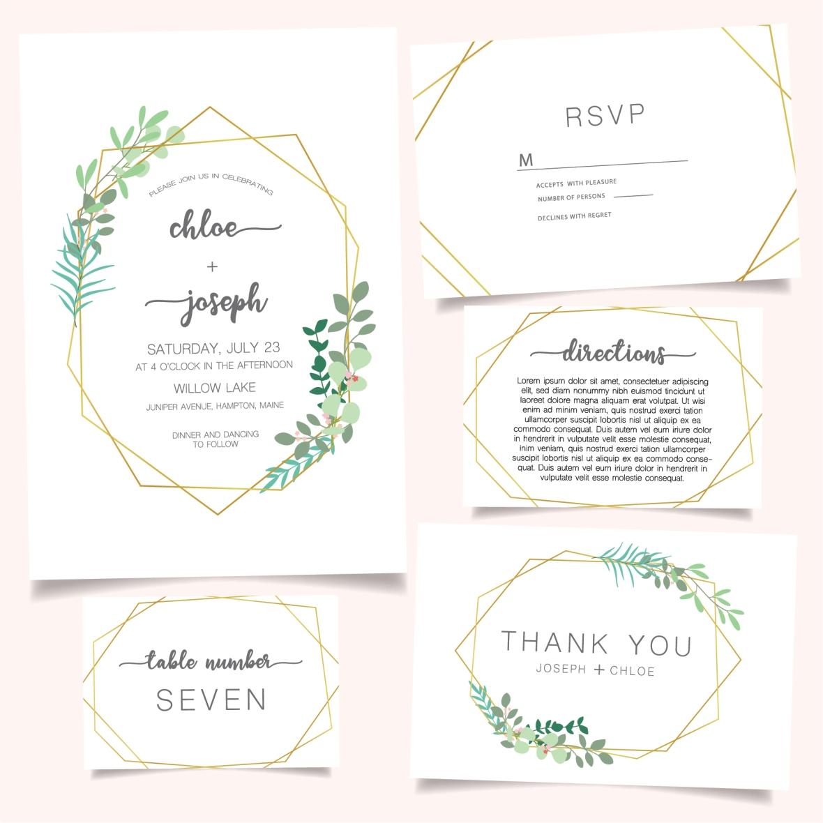 Wedding Invitation Set Green Gold-01